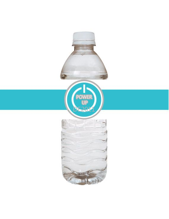 Digital Wii Video Game Party Power Up Water Bottle Labels or Tags - Instant Download