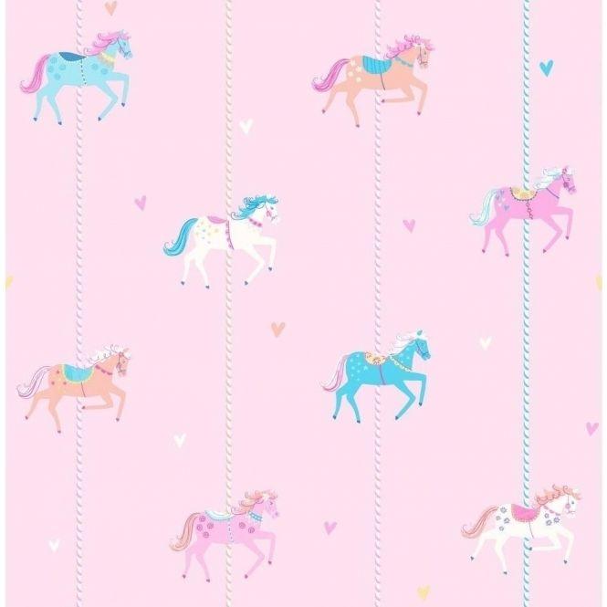 Decorline Carousel Childrens Wallpaper Pink / Blue / White (DL21119) - Wallpaper from I love wallpaper UK