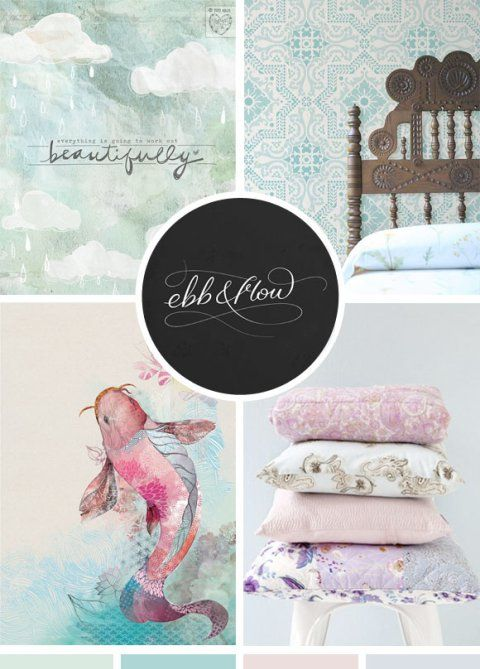 The ebb and flow of time and seasons, moodboard, soft pastel color palette, pink, purple, blue, green, turquoise color scheme