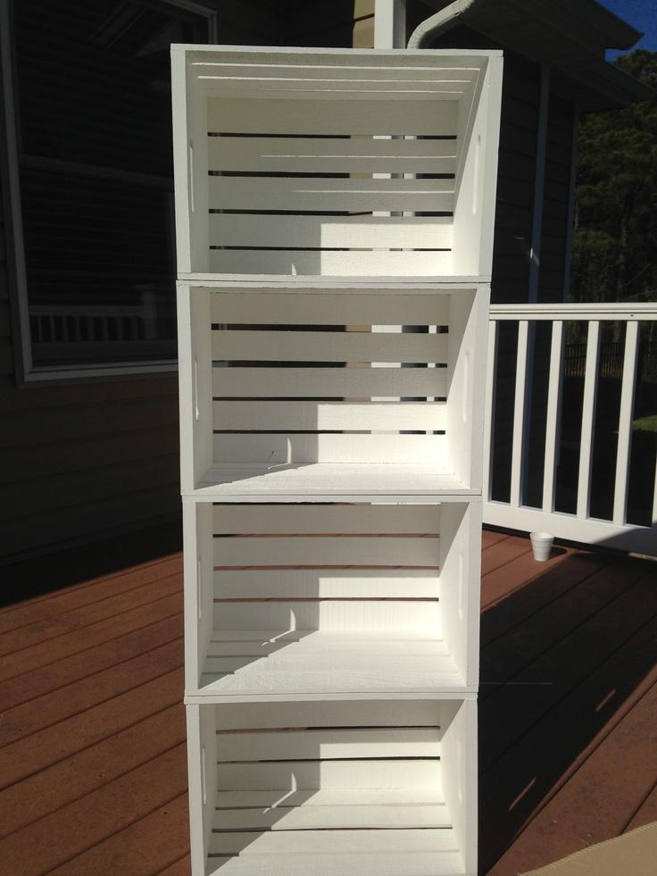 wood crate bookshelf things i made pinterest. Black Bedroom Furniture Sets. Home Design Ideas