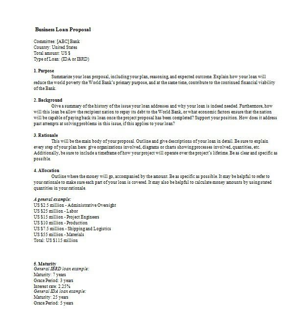 25 Unique Sample Proposal Letter Ideas On  Bank Loan Proposal Template