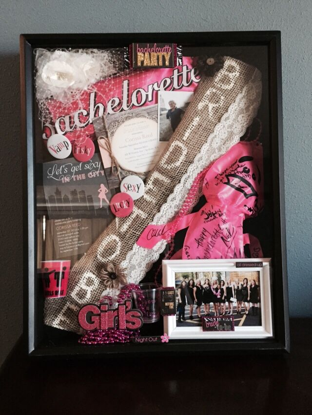 Bachelorette & bridal shower memorabilia shadow box.