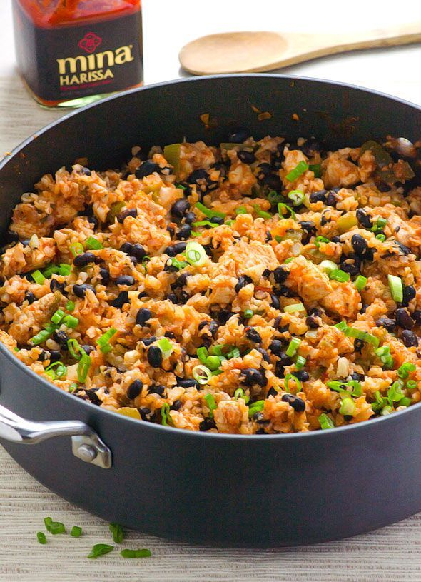 """Clean Eating Chicken, Beans and Cauliflower """"Rice"""" - One pan 30 minute gluten free meal. You can use regular rice as well."""