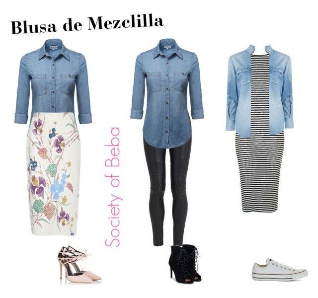 """Blusa de Mezclilla"" by bebaelaine21 on Polyvore featuring Diane Von Furstenberg, The Row, JustFab, Fratelli Karida, Topshop, Yves Saint Laurent and Converse"