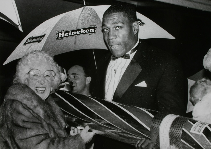 Frank Bruno being presented with a large stick of Coronation Rock when he switched on the Blackpool Illuminations in 1989