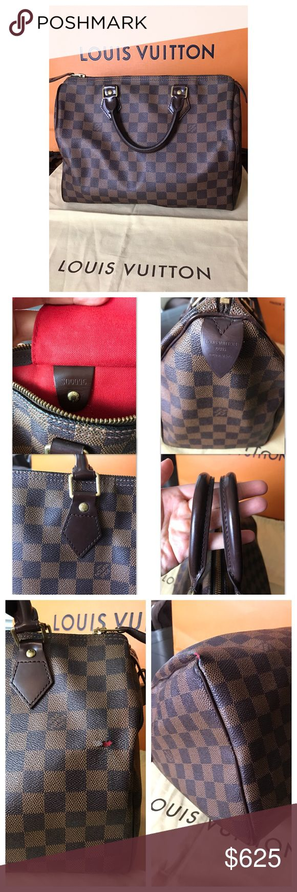 AUTHENTIC Louis Vuitton speedy 30 damier ebene Authentic pre owned Louis Vuitton speedy 30 damier ebene, it has to flaws as picture shown above. Everything else is in great condition. This will come with dustbag. NO TRADE. Serious inquiries only. Thank you. Louis Vuitton Bags Satchels