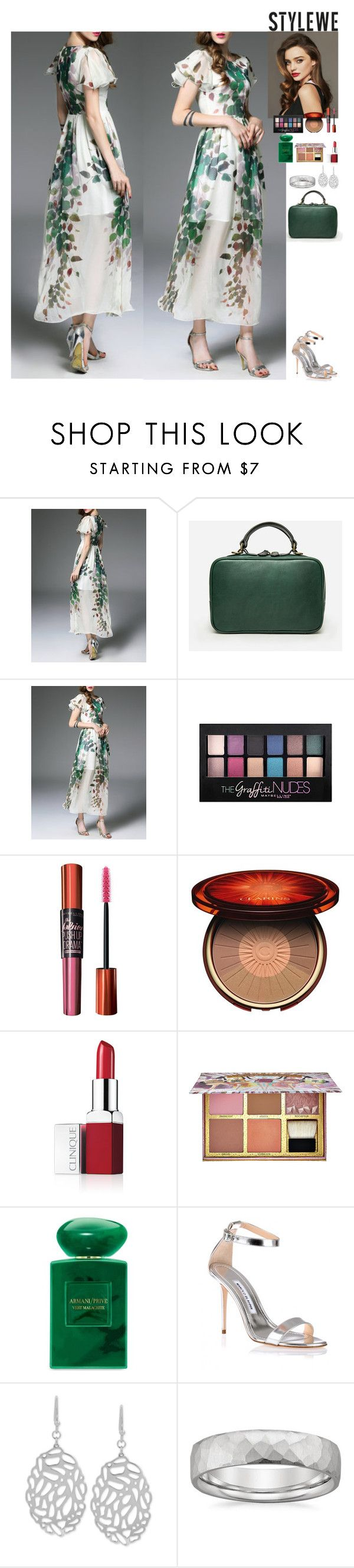 Event StyleWe by eliza-redkina on Polyvore featuring мода, Manolo Blahnik, Everest, Maybelline, Benefit, Clarins, Clinique, Giorgio Armani, Kerr® and outfit