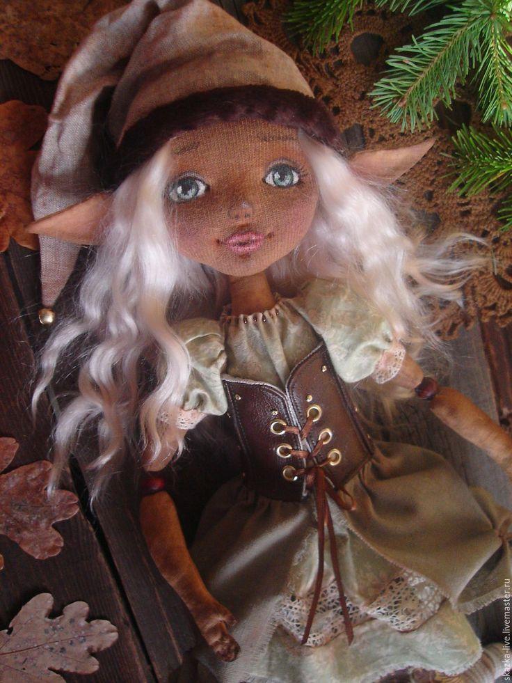 Купить Лесной эльф Эрика - кукла авторская текстильная - оливковый, авторская кукла, текстильная кукла