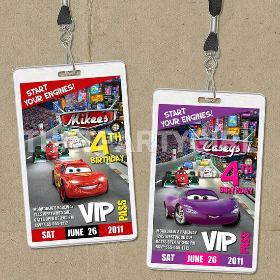Cars Birthday Party passes