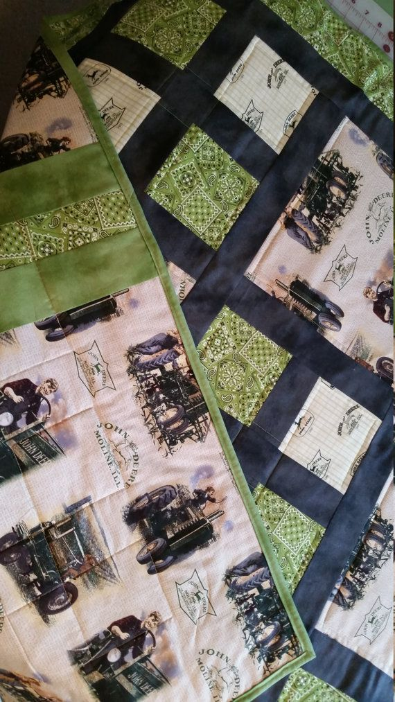 Baby or lap quilt featuring tan and green John by EmilHansDesigns