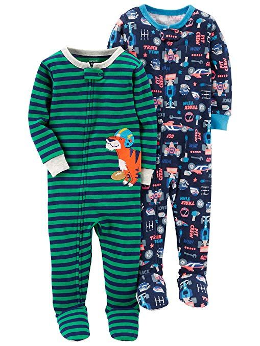26a3e0531 Carter s Baby Boys  Toddler 2-Pack Cotton Footed Pajamas