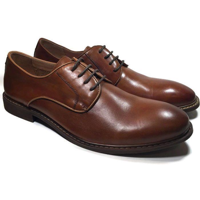 Steve Madden DANFORTT Mens Tan Leather Oxford Dress Shoes SIZE 9 | eBay