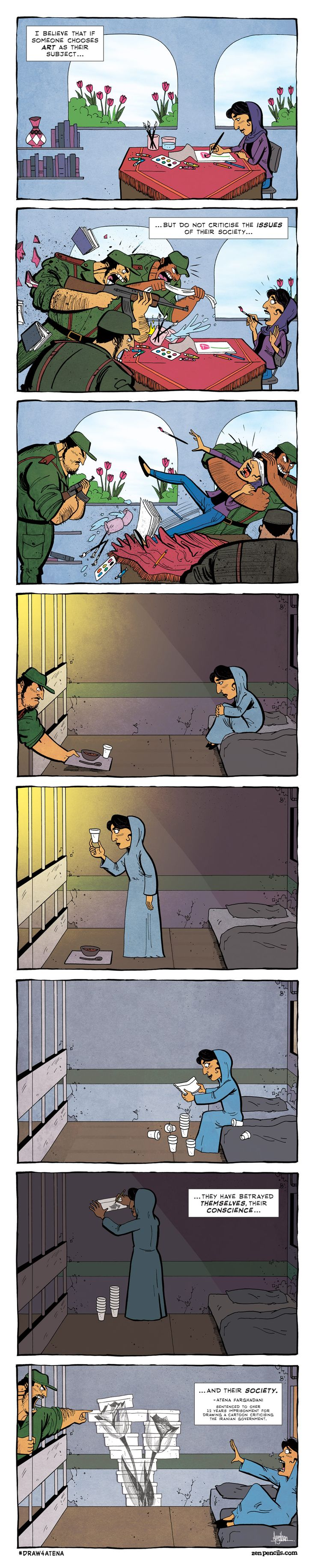 Atena Farghadani is a 28-year-old Iranian artist.She was recently sentencedto 12 years and 9 months in prison for drawing a cartoon.  This cartoon, that she posted on her Facebook page last...