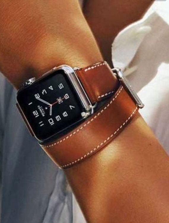 Brown Hand-Stitched 42mm 38mm Apple Watch Leather by JuxliHome