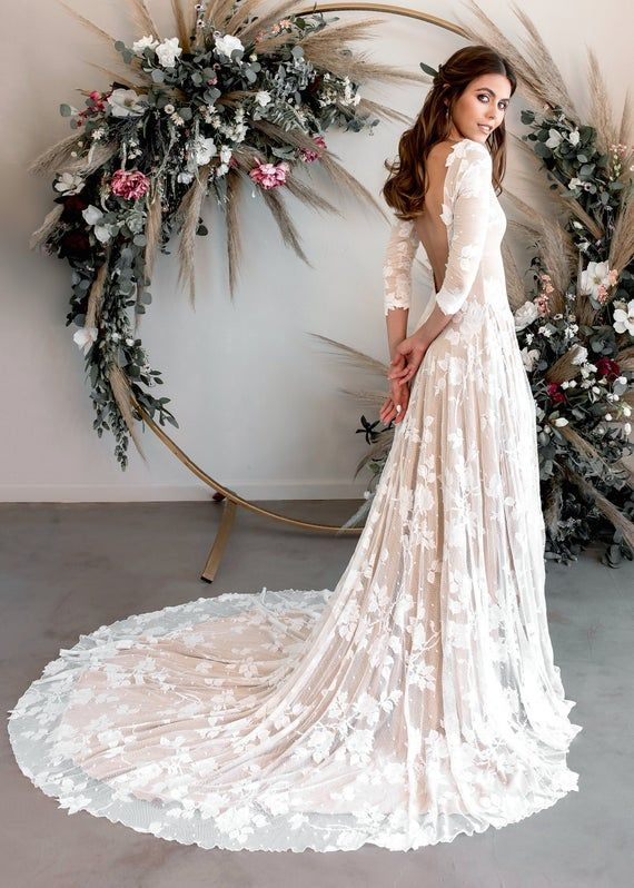 Boho Floral Lace Wedding Dress