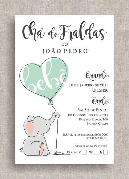Convite Digital Chá de Fraldas 38 - Elefantinho