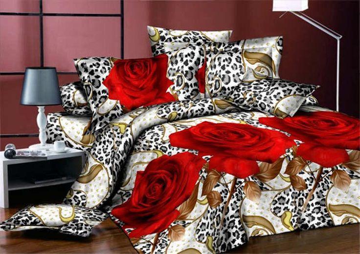 Коричневые простыни с красными розами, 100% хлопок, набор постельного белья для кровати королевского размера, набор постельного белья с три-дэ принтом, роскошный набор пуховых клетчатых покрывал.