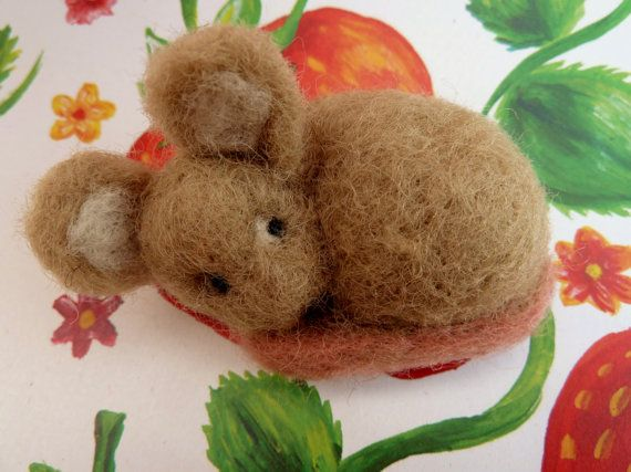 Mouse tiny Needle Felted Miniature Wool Ornament Gift