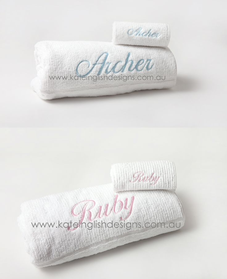 Personalised high quality bath towel sets available for a birth or christening gift.