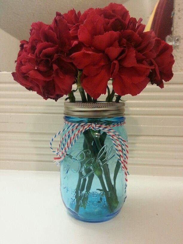 Blue Mason Jar Red Carnation Centerpiece Carnival Country