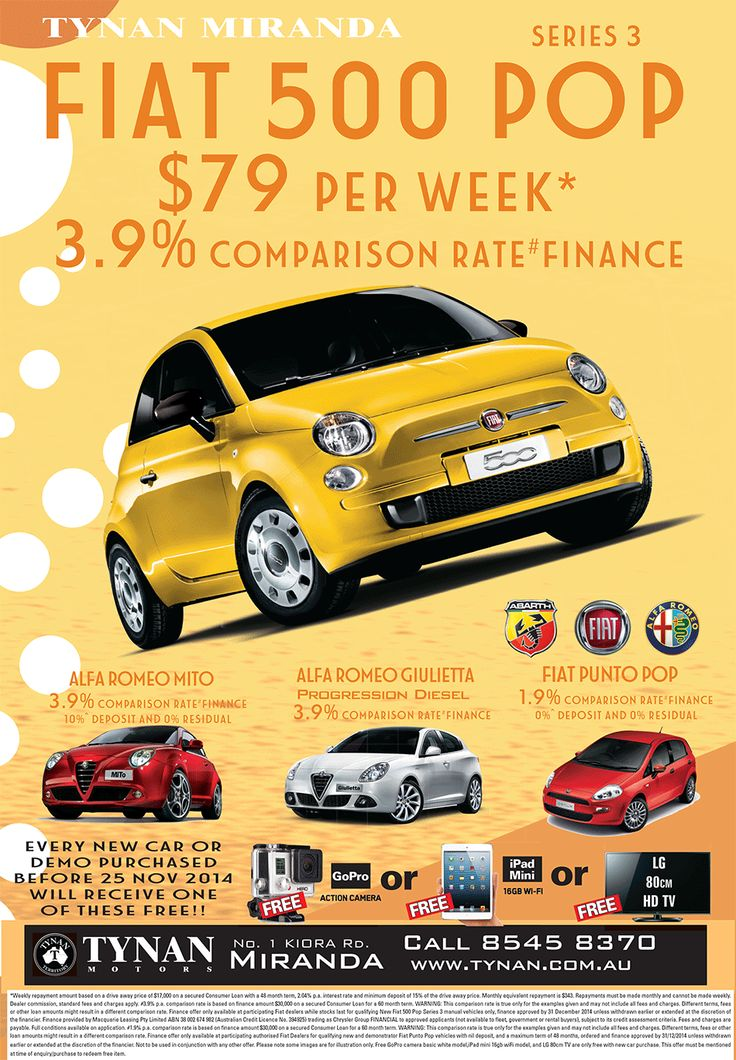 Fiat 500 Pop For $79 A Week! - http://tynanmotors.com.au/fiat-500-pop-79-week/