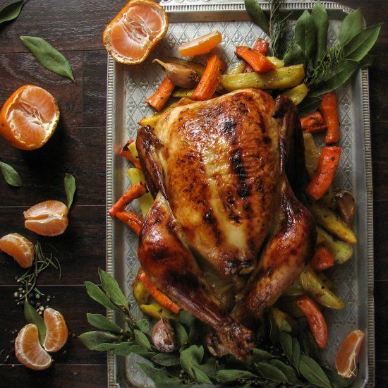 Chicken roasted in clementine-honey glaze with rosemary. Recipe in russian - foodgawker.com