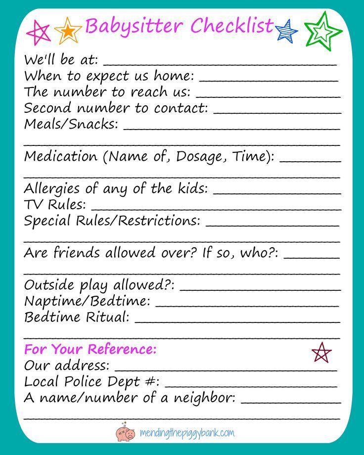 FREE Printable Babysitter Checklist, #babysitter #checklist #Free
