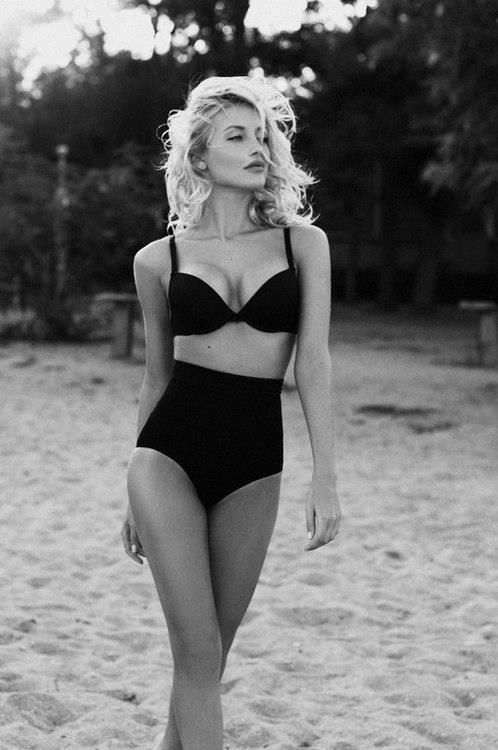 high waisted bikini - classic elegance I hate the new school ones but this is cute as Fah-heck!