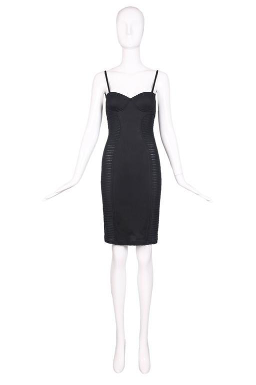 Vintage Jean-Paul Gaultier Black Bustier Bodycon Dress 1990