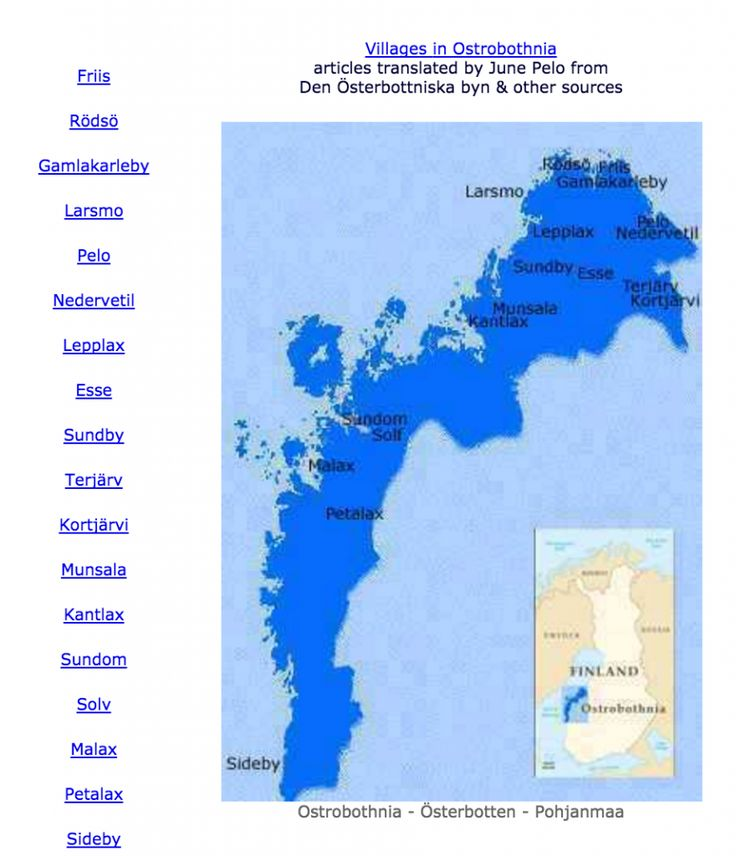 Emigrants from Ostrobothnia, Finland is a free, searchable database of emigrants leaving Ostrobothnia, Finland whose final destination and death date may or may not be known. This is a diffe...