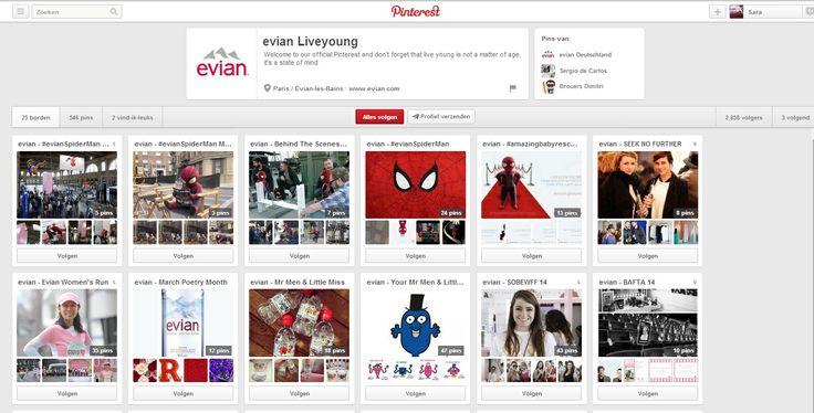 Evian communiceert via Pinterest over de activiteiten die het merk organiseert, zoals de Evian Women's run, limited editions, sport, fims...#multimedia1  bron:http://www.pinterest.com/evianliveyoung/
