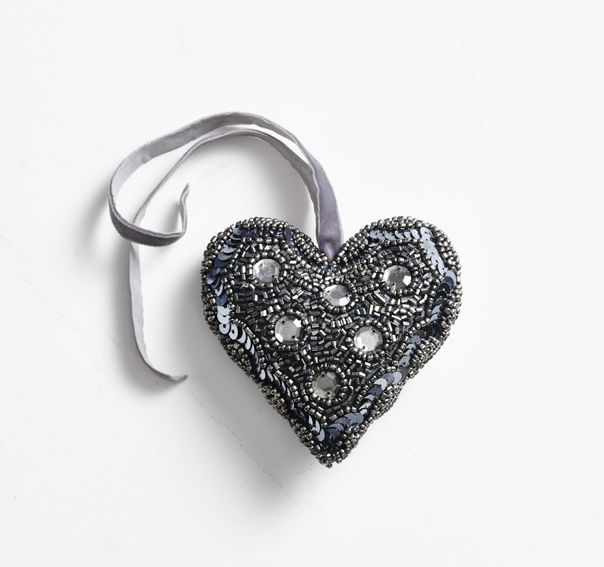 Christmas decorations! Handmade silver heart, with a velvet ribbon.  (small sequin heart) Buy at www.thetravellingband.dk