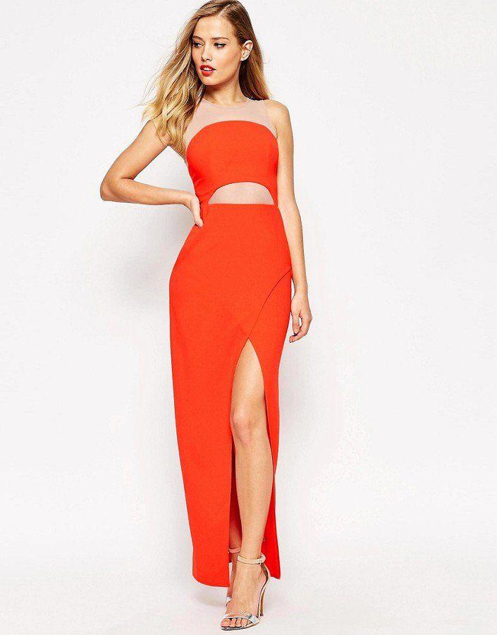 Pin for Later: 79 Robes Longues Super Confort Pour Cet Été  Asos Maxi robe en tulle contrastant avec découpes - Rouge (77€)