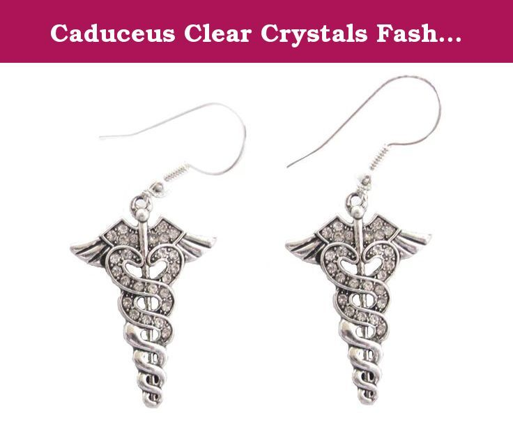 Caduceus Clear Crystals Fashion French Hook Earrings Jewelry. Caduceus was a staff carried by Hermes as a symbol of peace. It served as a badge of protection for ancient Greek and Roman heralds and ambassadors. It was originally depicted as a rod or olive branch ending in two shoots and decorated with garlands or ribbons; in later iconography the garlands became two snakes and a pair of wings was attached to the staff to represent Hermes' speed. The caduceus was adopted as a symbol of...