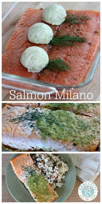 Salmon Milano with Basil Pesto Butter