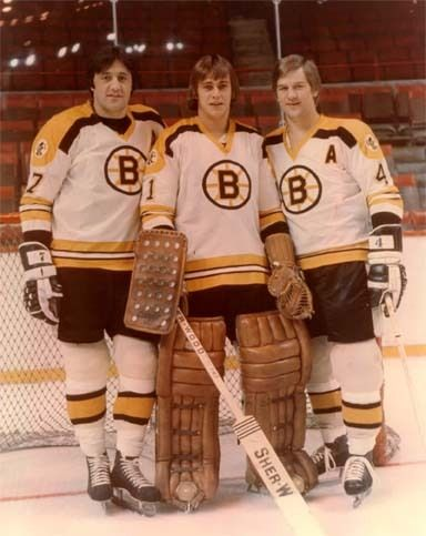 Phil Esposito C, Gilles Gilbert G and Bobby Orr D...Boston Bruins