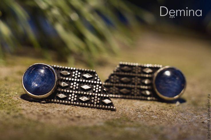 """Купить Серьги с кианитами """"Лора Палмер"""" - синий, бохо украшения, серьги, серьги ручной работы"""