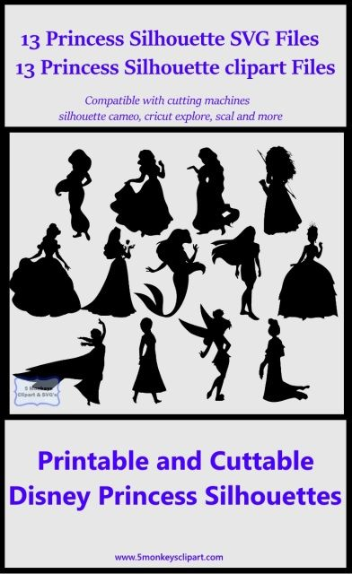 Disney Princess SVG files and printable clipart Vector cutting files for…