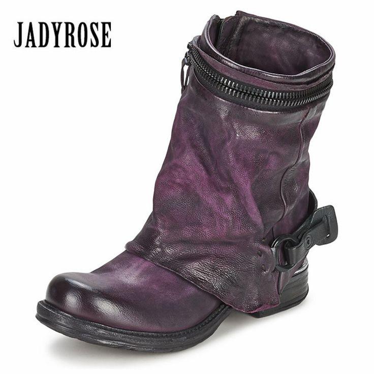 Jady Rose Purple Genuine Leather Women Vinatge Short Riding Boots Flat Shoes Woman Ankle Booties Platform Botas Militares #Affiliate