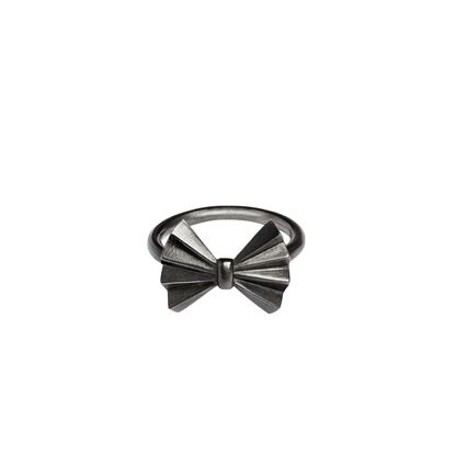FanBow ring, oxidised silver