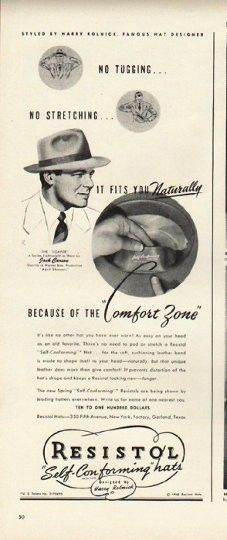 "1948 RESISTOL HAT vintage magazine advertisement ""Comfort Zone"" ~ Styled by Harry Rolnick, famous hat designer - No Tugging ... No Stretching ... It Fits You Naturally Because Of The ""Comfort Zone"" ... The ""Loafer"" - A Spring Lightweight as worn by ..."