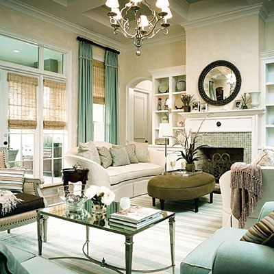 Southern Living Seafoam Green Modern French Room Design With Soft Yellow Cream And Blue Space Love The Mirrored Top Coffee