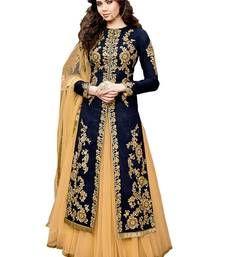 Buy Blue embroidered cotton silk semi stitched kameez with pakistani lehenga pakistani-salwar-kameez online