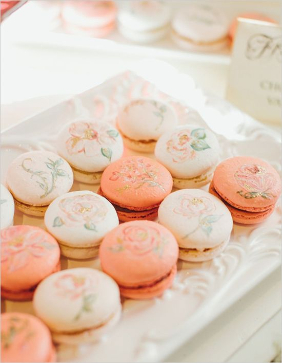 French macarons with hand painted flowers on top #wedding #weddingdessert #desserttable #macarons #peach