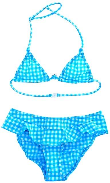 Maillot de bain fille 2 pièces Princesse Ilou  Modèle Vichy bleu