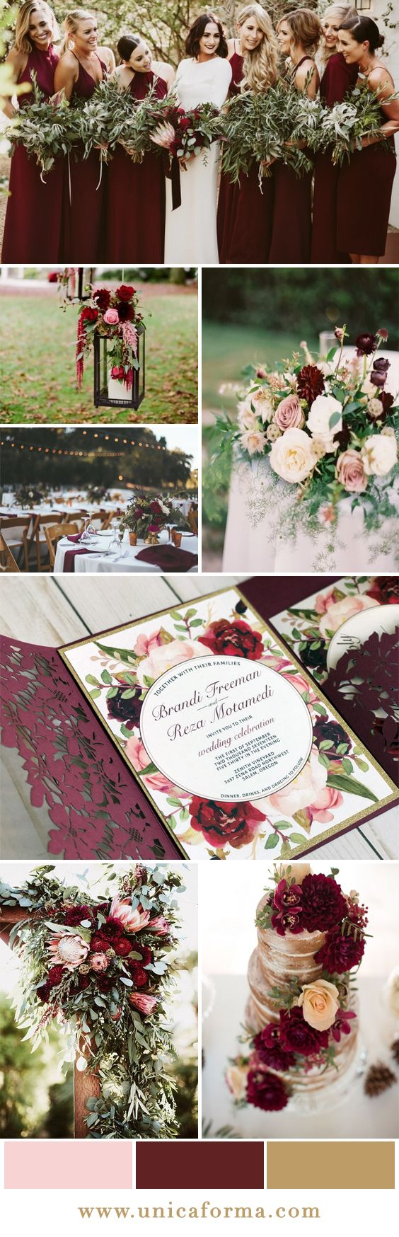Marsala blush and gold wedding. Marsala and blush wedding. Burgundy and blush wedding. Maroon and blush wedding. Marsala bridesmaids dresses. Burgundy dresses. Marsala table setting. Blush and burgundy bouquet. Naked wedding cake. Marsala wedding cake. Marsala wedding decor. Wine wedding decor. Outdoor wedding. Whimsical wedding. Boho wedding. Rustic wedding. Invitations by Unica Forma.