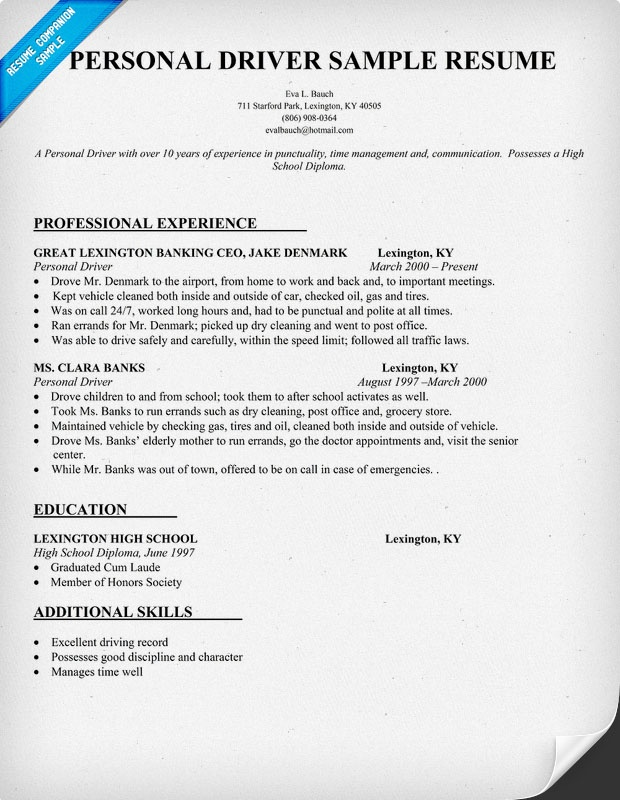 Personal Driver Resume Sample resumecompanion – Resume for Driver