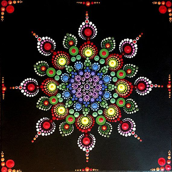 This is a 12x12x.75 in canvas. Hand-painted with acrylic paints. This design is inspired by the dahlia, with its beautiful shape and colors. Each painting is embellished with Swarovski crystals for added sparkle and color. Each canvas has been treated with a clear finish to protect the paint and canvas from water or other liquids.