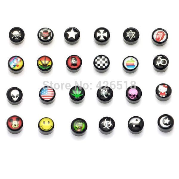 Acrylic Non Piercing Clip On Magnetic Magnet Ear Stud Mens Womens Fake Earrings