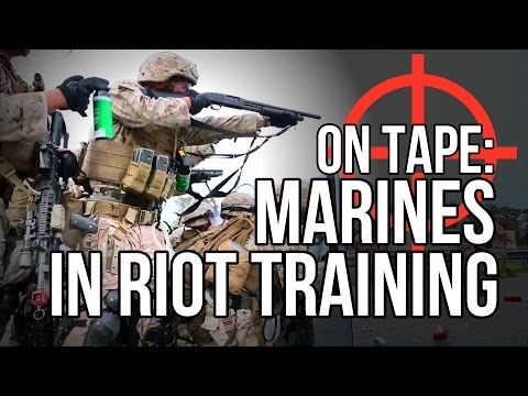 US Marines / National Guard doing crowd control drills